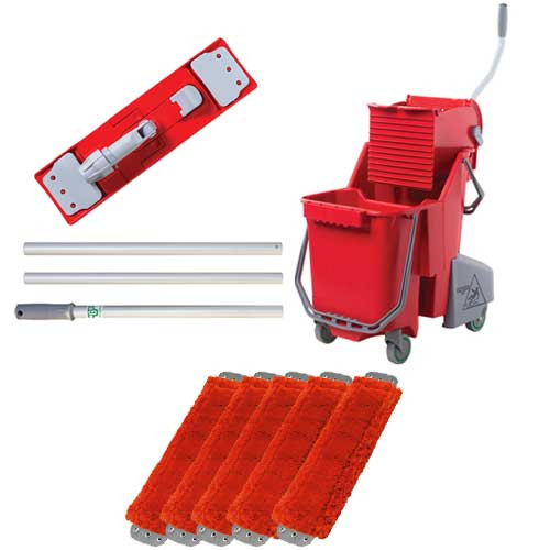 Unger combrkit microfiber red mopping kit includes bucket wringer mop handle mop holder 5 mops gw