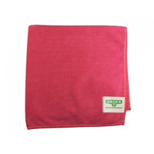 Unger MF40R red microfiber cloths MicroWipe 4000 heavy duty 16x15 launderable for dusting, polishing, scrubbing pack of 10 cloths GW