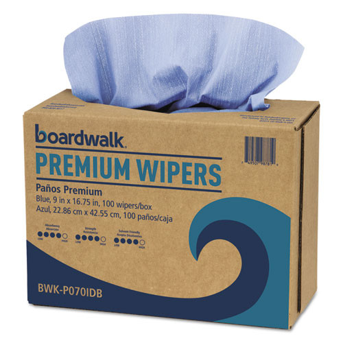 Boardwalk BWKP070IDB hydrospun wipers shop towel alternative blue 9x16.75 case of 1000 wipers