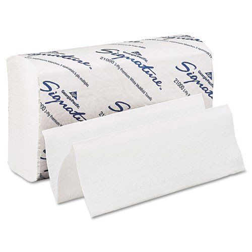 Signature GPC21000 paper hand towels multifold white 2 ply Georgia Pacific case of 2000 towels