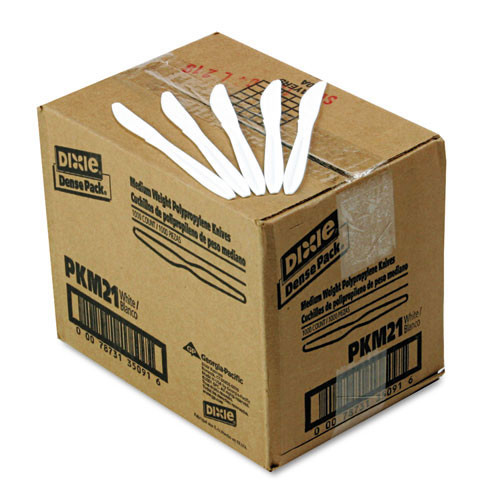 Plastic knives medium weight polypropylene white case of 1000 replaces dixpkm21 Dixie dxepkm21