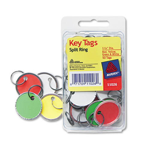 Key tags with metal rim pack of 50 key tags in four colors replaces avy11026 avery ave11026