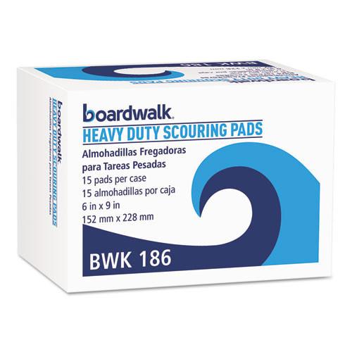 Boardwalk BWK186 scour pad heavy duty 6x9 green case of 15
