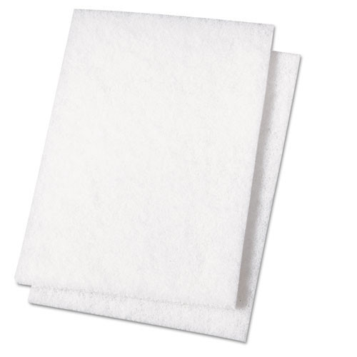 Boardwalk BWK198 scour pad light duty 6x9 inches white case of 20 Pads