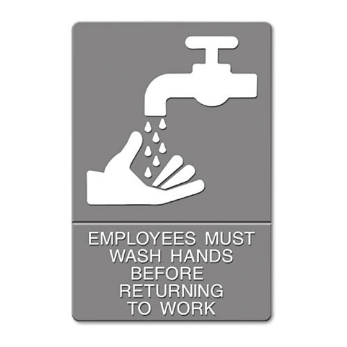 Employees must wash hands sign meets ADA requirements 6x9 inch gray replaces UST4726 US Stamp and Sign USS4726