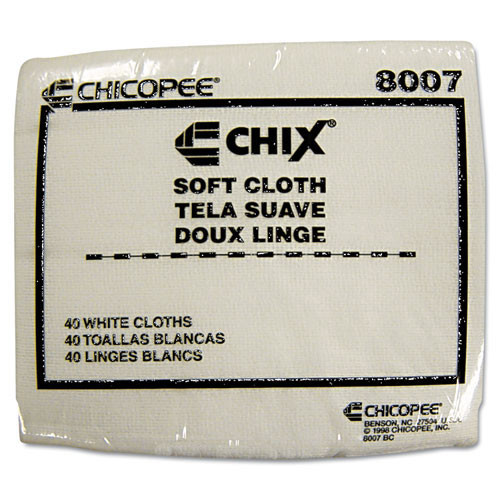 Soft cloth with microban Chicopee reusable white 13x15 40 cloths per bag 30 bags per case chi8007