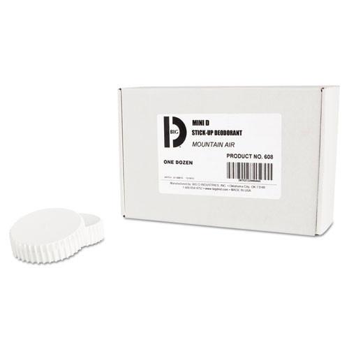 Solid air freshener bigd mini d stick up last 30 to 45 days mountain air scent 2.5 oz stick ups case of 12 stick ups Big D bgd608