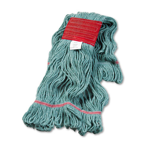 Boardwalk BWK503GNCT Super Loop looped end wet mop heads large green 5 inch headband case of 12 replaces UNS503WH