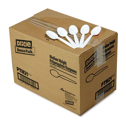 Plastic teaspoon medium weight polypropylene white case of 1000 replaces dixptm21 Dixie dxeptm21