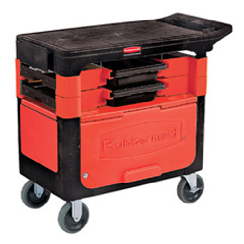 Rubbermaid 618088bla trades cart with locking cabinet 19x38 450 lbs. black