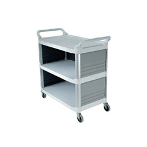 Rubbermaid 4093cre utility cart 3 sides off white plastic 40x20x37 inches