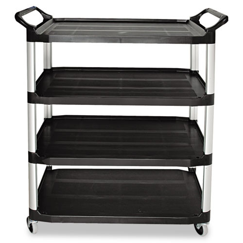 Rubbermaid 4096bla utility cart 4 shelf black plastic 40x20x51 inches replaces rcp4096bla rcp409600bla