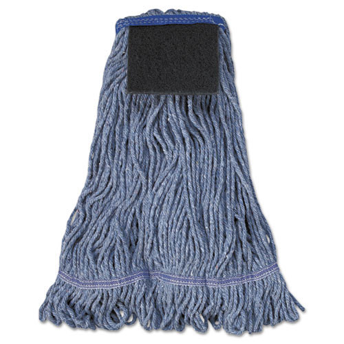 Boardwalk BWK903BL looped end wet mop heads scrub pad blue large 1 inch headband case of 12