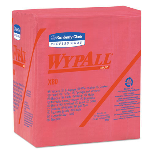 Wypall kcc41029 rag replacement quarterfold x80 shoppro wipe red 12.5x13 case of 200 wipes