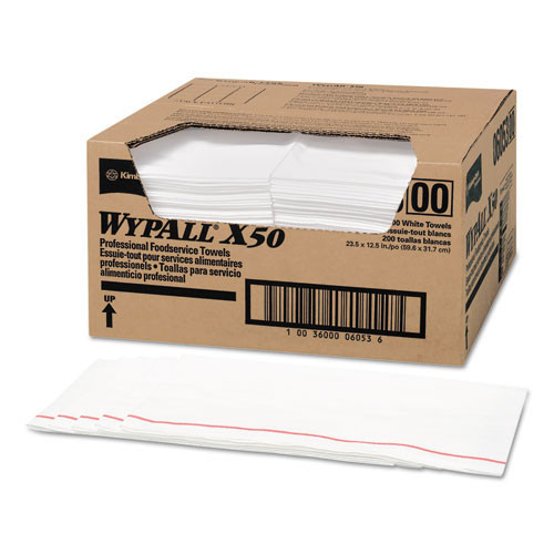 Wypall kcc06053 wipes x50 food service towel quarterfold 12.5x23.5 white pink stripe case of 200 towels