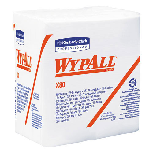 Wypall kcc41026 x80 shoppro qtr fold wiper 12.5x14.4 white case of 200 wipes