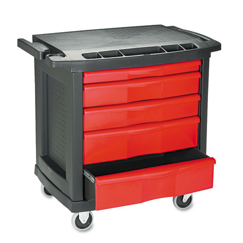 Rubbermaid 7734bla work center cart 5 drawer 250 lbs 33x20 replaces rcp7734bla rcp773488