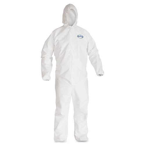 Disposable coveralls a40 liquid and particle protection Kleenguard white zipper front elastic wrists and ankles with hood size large case of 25 coveralls Kimberly Clark kcc44323