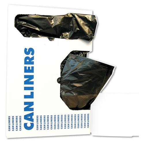 Boardwalk BWK2423L 10 gallon trash bags case of 500 black 24x23 linear low .35 mil regular strength coreless rolls