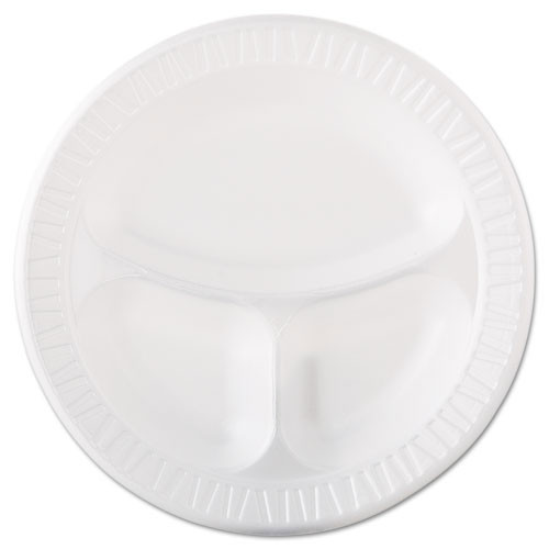 Quiet classic laminated foam dinnerware plates 10.25 inch plate with three compartments case of 500 dart dcc10cpwqr