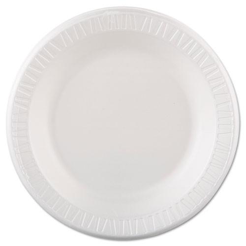 Quiet classic laminated foam dinnerware plates 10.25 inch plate 4 125s case of 500 dart dcc10pwqr