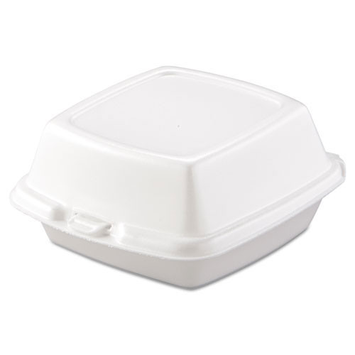 Foam hinged lid carryout containers 6 inch large sandwich 4 125s dart dcc60ht1
