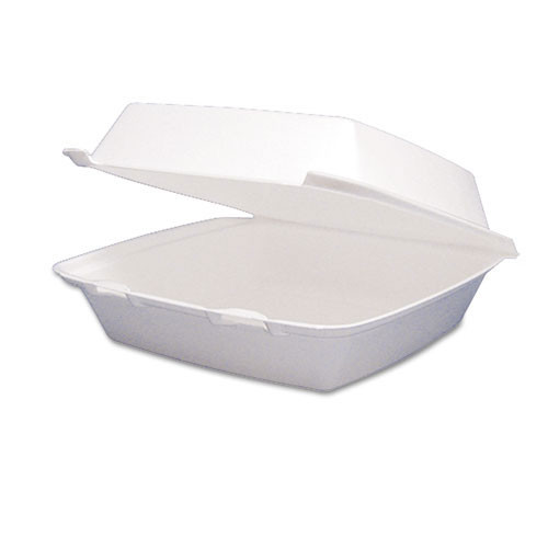 Foam hinged lid carryout containers medium single compartment 2 100s dart dcc85ht1r