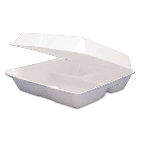 Foam hinged lid carryout containers medium three compartment 2 100s dart dcc85ht3r