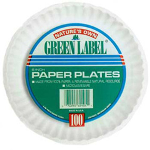 Uncoated paper plates 9 inch white green label ajm case of 1000 plates ajmpp9grewh