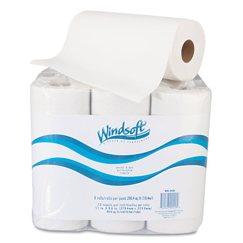 Windsoft win2420 paper towels recycled perforated 2 ply 9 inch x 11 inch 72 sheets per roll case of 6 rolls