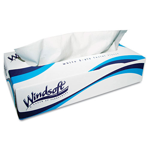 Windsoft win2430 facial tissue 2ply 100 tissues per box case of 6 boxes