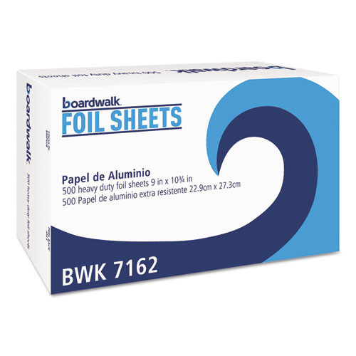 Boardwalk BWK7162 pop up aluminum foil sheets 9 inch x 10.75 inch 500 sheets per box case of 6