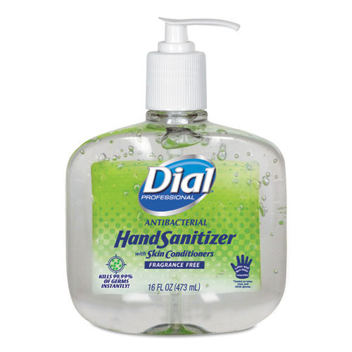 Dial instant hand sanitizer with moisturizers 16oz pump bottle case of 8 Dia00213