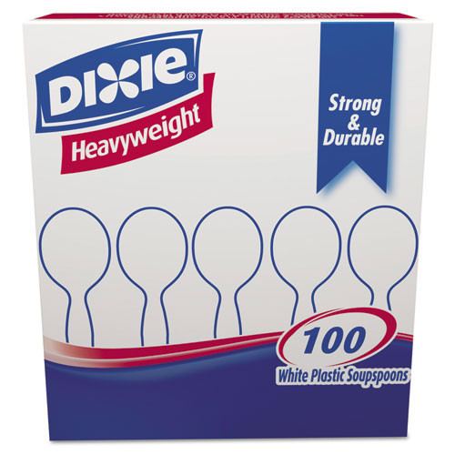 Heavyweight plastic soup spoon full size cutlery polystyrene white case of 1000 replaces dixsh207 Dixie dxesh207ct
