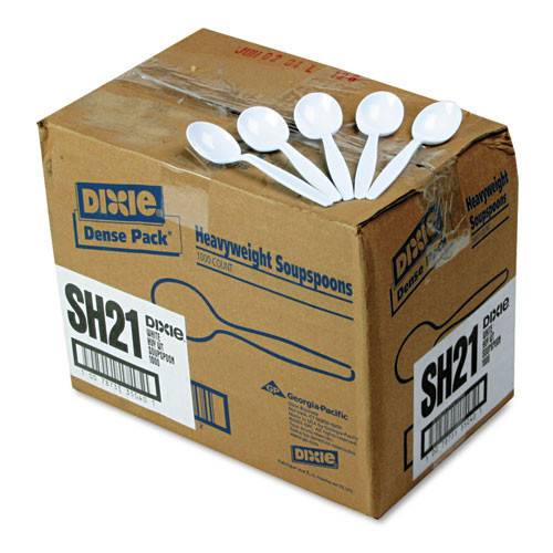 Heavyweight plastic soup spoon full size cutlery polystyrene dense pack white case of 1000 replaces dixsh217 Dixie dxesh217