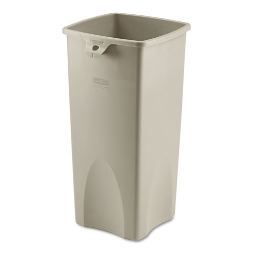 Rubbermaid 356988bei trash can Untouchable 23 gallon container square beige replaces rcp356988bei rcp356988bg