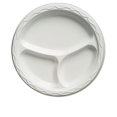 Plastic plates three compartment 10 inch white aristocrat case of 500 plates Genpak gnp71300