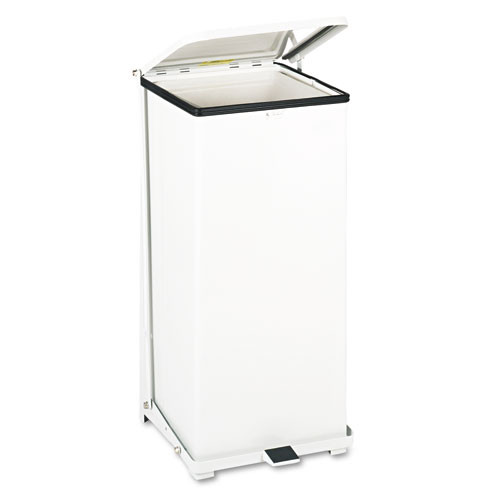 Rubbermaid st24eplwh step on trash can 24 gallon receptacle defenders step can white