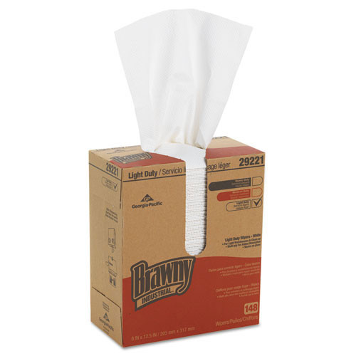 Brawny GPC29221 industrial light duty wiper white pop up box 100 per box case of 15 boxes