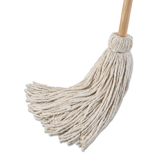 Boardwalk BWK124C deck mop wood handle cotton mop head 24oz 54 inch handle pack of 6 mops