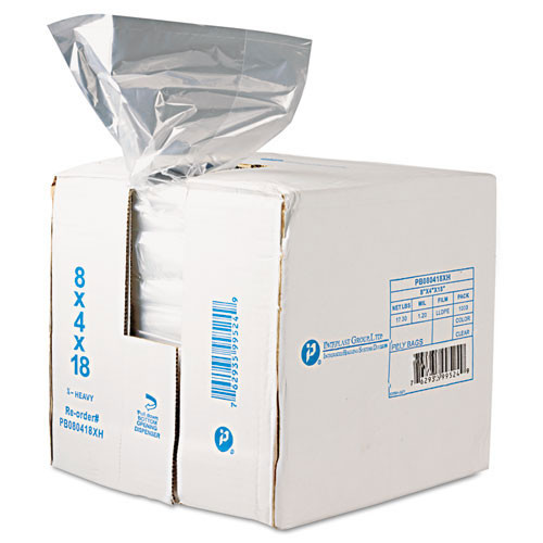Food and utility poly bags clear lldpe film .68mil gauge 8x4x18 inch size 8 quart capacity case of 1000 bags ibspb080418r