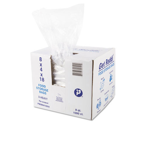 Food and utility poly bags clear lldpe film 1.20mil gauge 8x4x18 inch size 8 quart capacity case of 1000 bags ibspb080418xh