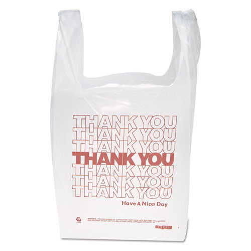 Thank you designed poly bags white with red thank you design hdpe film 11.5x6.5x21 inch size case of 900 bags ibsthw1val