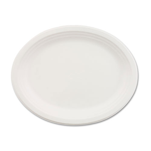 Paper white plate oval chinet premium strength paper dinnerware 9.75 x 12.5 inch oval case of 500 plates huhtamaki huh21257ct
