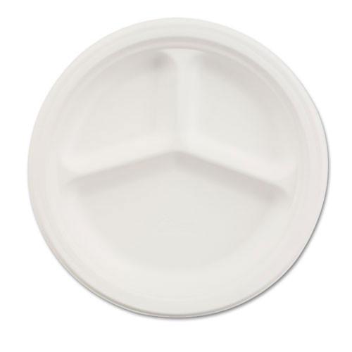 Paper white plate round chinet premium strength paper dinnerware 10.25 inch 3 compartment case of 500 plates huhtamaki huh21204ct