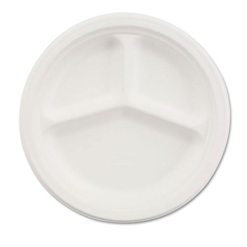 Paper white plate round chinet premium strength paper dinnerware 9.25 inch 3 compartment case of 500 plates huhtamaki huh21228