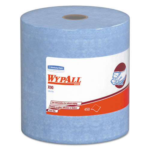 Wypall kcc12889 wipes x90 all purpose denim blue jumbo roll perforated 11.1x13.4 sheet size case of 450
