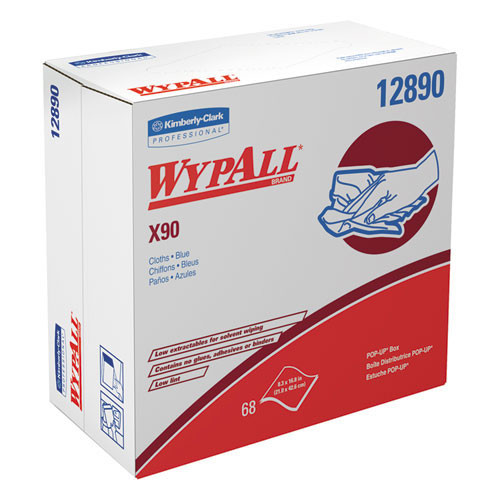 Wypall kcc12890 wipes x90 all purpose white pop up box 8.3x16.8 sheet size case of 340