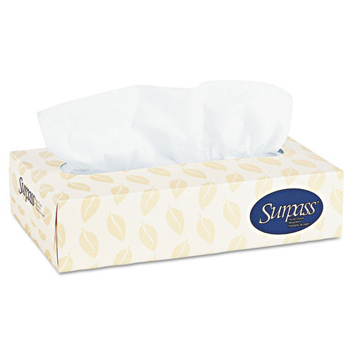 Surpass facial tissue flat box white 8x8.3 sheet size 125 tissues per box case of 60 boxes Kimberly Clark KCC21390