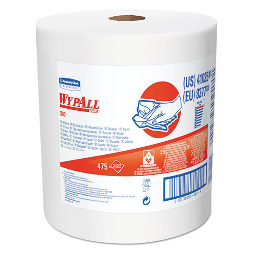 Wypall kcc41025 wipes x80 shop red jumbo roll perforated 12.5x13.4 sheet size case of 475